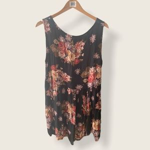 BRANDY MELVILLE Black Floral Babydoll Tank Dress